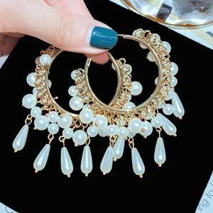 Gold 2-ish Inch Hoop + Faux Pearl Dangling Earring